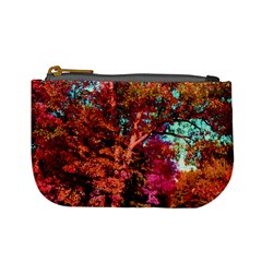 Abstract Fall Trees Saturated With Orange Pink And Turquoise Mini Coin Purses