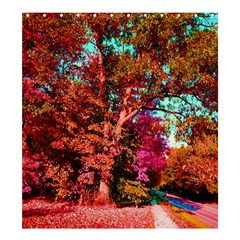 Abstract Fall Trees Saturated With Orange Pink And Turquoise Shower Curtain 66  x 72  (Large)