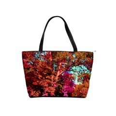 Abstract Fall Trees Saturated With Orange Pink And Turquoise Shoulder Handbags