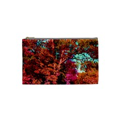 Abstract Fall Trees Saturated With Orange Pink And Turquoise Cosmetic Bag (Small)