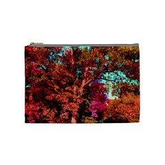 Abstract Fall Trees Saturated With Orange Pink And Turquoise Cosmetic Bag (medium)