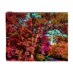 Abstract Fall Trees Saturated With Orange Pink And Turquoise Cosmetic Bag (XL)