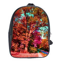 Abstract Fall Trees Saturated With Orange Pink And Turquoise School Bags(Large)