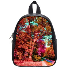 Abstract Fall Trees Saturated With Orange Pink And Turquoise School Bags (Small)