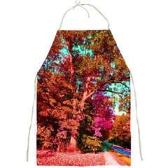 Abstract Fall Trees Saturated With Orange Pink And Turquoise Full Print Aprons