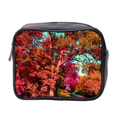Abstract Fall Trees Saturated With Orange Pink And Turquoise Mini Toiletries Bag 2-Side