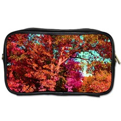 Abstract Fall Trees Saturated With Orange Pink And Turquoise Toiletries Bags