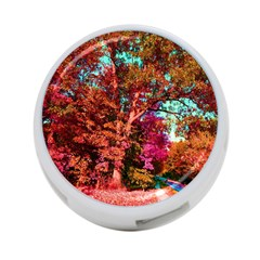Abstract Fall Trees Saturated With Orange Pink And Turquoise 4-Port USB Hub (Two Sides)
