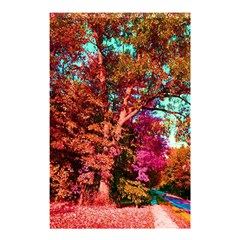 Abstract Fall Trees Saturated With Orange Pink And Turquoise Shower Curtain 48  x 72  (Small)