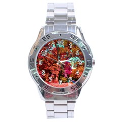 Abstract Fall Trees Saturated With Orange Pink And Turquoise Stainless Steel Analogue Watch