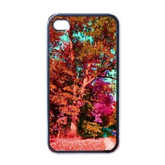 Abstract Fall Trees Saturated With Orange Pink And Turquoise Apple iPhone 4 Case (Black)
