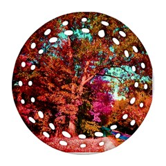 Abstract Fall Trees Saturated With Orange Pink And Turquoise Ornament (round Filigree)
