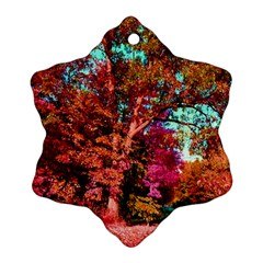 Abstract Fall Trees Saturated With Orange Pink And Turquoise Ornament (Snowflake)