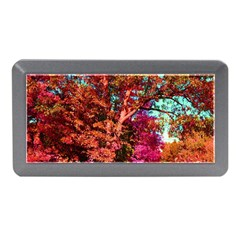 Abstract Fall Trees Saturated With Orange Pink And Turquoise Memory Card Reader (mini)