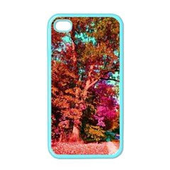 Abstract Fall Trees Saturated With Orange Pink And Turquoise Apple iPhone 4 Case (Color)