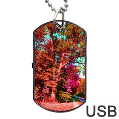 Abstract Fall Trees Saturated With Orange Pink And Turquoise Dog Tag Usb Flash (one Side)