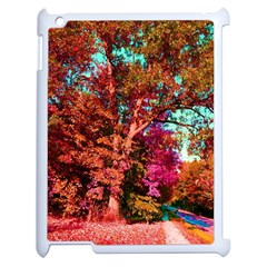 Abstract Fall Trees Saturated With Orange Pink And Turquoise Apple Ipad 2 Case (white)