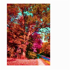 Abstract Fall Trees Saturated With Orange Pink And Turquoise Large Garden Flag (two Sides)