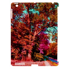Abstract Fall Trees Saturated With Orange Pink And Turquoise Apple iPad 3/4 Hardshell Case (Compatible with Smart Cover)