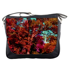 Abstract Fall Trees Saturated With Orange Pink And Turquoise Messenger Bags