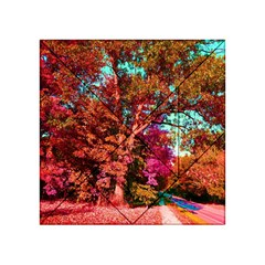 Abstract Fall Trees Saturated With Orange Pink And Turquoise Acrylic Tangram Puzzle (4  X 4 )