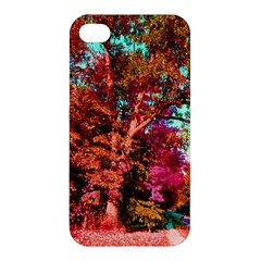 Abstract Fall Trees Saturated With Orange Pink And Turquoise Apple Iphone 4/4s Premium Hardshell Case