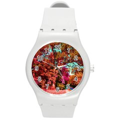 Abstract Fall Trees Saturated With Orange Pink And Turquoise Round Plastic Sport Watch (m)