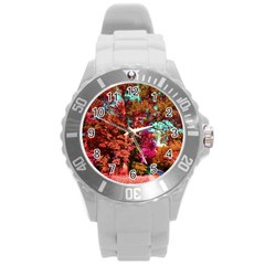 Abstract Fall Trees Saturated With Orange Pink And Turquoise Round Plastic Sport Watch (l)