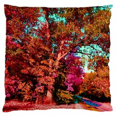 Abstract Fall Trees Saturated With Orange Pink And Turquoise Large Cushion Case (Two Sides)