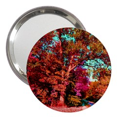Abstract Fall Trees Saturated With Orange Pink And Turquoise 3  Handbag Mirrors