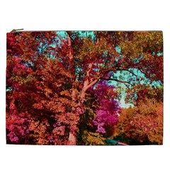 Abstract Fall Trees Saturated With Orange Pink And Turquoise Cosmetic Bag (XXL)
