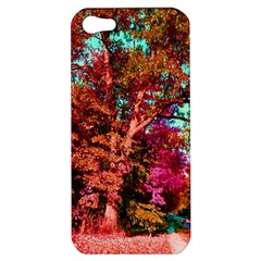 Abstract Fall Trees Saturated With Orange Pink And Turquoise Apple iPhone 5 Hardshell Case