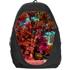 Abstract Fall Trees Saturated With Orange Pink And Turquoise Backpack Bag
