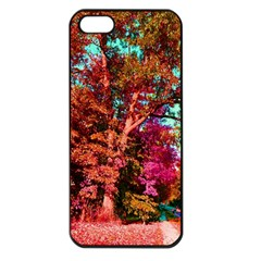 Abstract Fall Trees Saturated With Orange Pink And Turquoise Apple iPhone 5 Seamless Case (Black)