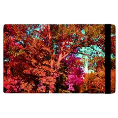 Abstract Fall Trees Saturated With Orange Pink And Turquoise Apple Ipad 2 Flip Case