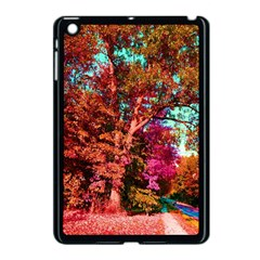 Abstract Fall Trees Saturated With Orange Pink And Turquoise Apple Ipad Mini Case (black)