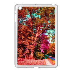Abstract Fall Trees Saturated With Orange Pink And Turquoise Apple iPad Mini Case (White)