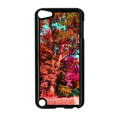 Abstract Fall Trees Saturated With Orange Pink And Turquoise Apple Ipod Touch 5 Case (black)