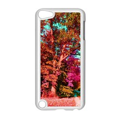 Abstract Fall Trees Saturated With Orange Pink And Turquoise Apple iPod Touch 5 Case (White)