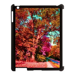 Abstract Fall Trees Saturated With Orange Pink And Turquoise Apple iPad 3/4 Case (Black)