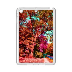 Abstract Fall Trees Saturated With Orange Pink And Turquoise Ipad Mini 2 Enamel Coated Cases