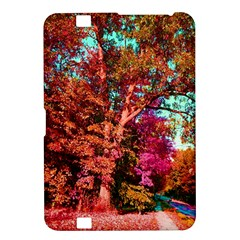 Abstract Fall Trees Saturated With Orange Pink And Turquoise Kindle Fire Hd 8 9