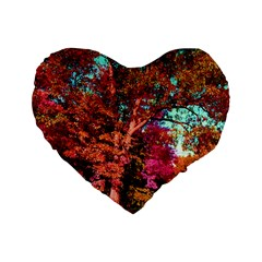 Abstract Fall Trees Saturated With Orange Pink And Turquoise Standard 16  Premium Heart Shape Cushions