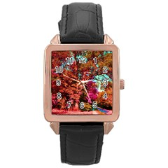 Abstract Fall Trees Saturated With Orange Pink And Turquoise Rose Gold Leather Watch