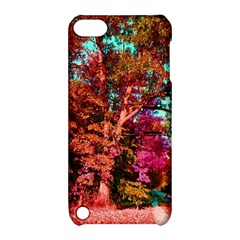 Abstract Fall Trees Saturated With Orange Pink And Turquoise Apple iPod Touch 5 Hardshell Case with Stand