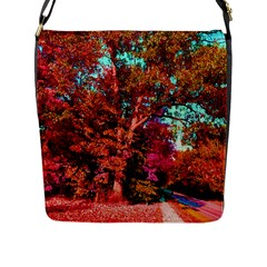 Abstract Fall Trees Saturated With Orange Pink And Turquoise Flap Messenger Bag (l)