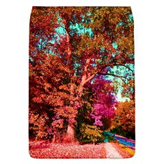 Abstract Fall Trees Saturated With Orange Pink And Turquoise Flap Covers (l)
