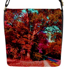 Abstract Fall Trees Saturated With Orange Pink And Turquoise Flap Messenger Bag (S)