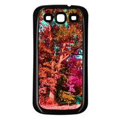 Abstract Fall Trees Saturated With Orange Pink And Turquoise Samsung Galaxy S3 Back Case (black)