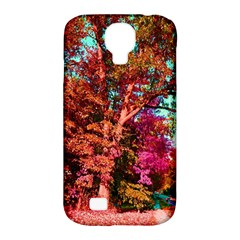 Abstract Fall Trees Saturated With Orange Pink And Turquoise Samsung Galaxy S4 Classic Hardshell Case (PC+Silicone)